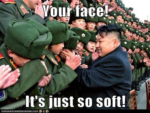 happy kim jong-un North Korea petting soft your face
