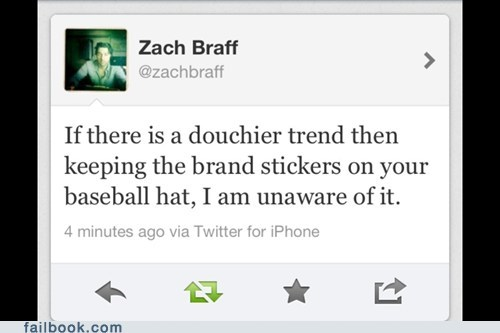 baseball caps,brand sticker,tweet,twitter,Zach Braff