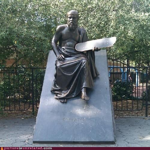 knowledge,philosophy,skateboarding,socrates,statue
