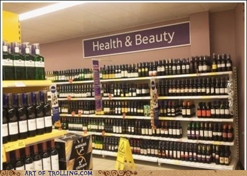 health and beauty,IRL,sign,store,wine