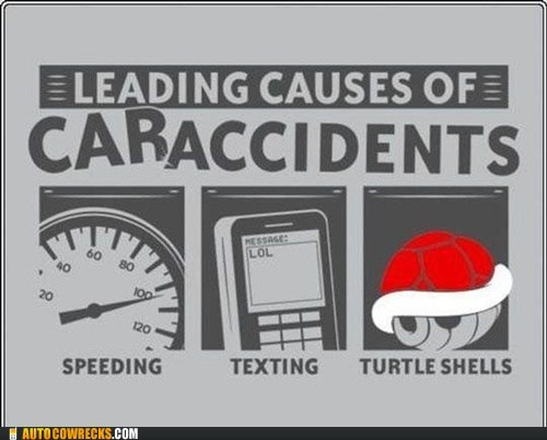 car accidents,Mario Kart,speeding,texting and driving,turtle shells