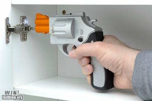 clever design DIY drill gun revolver