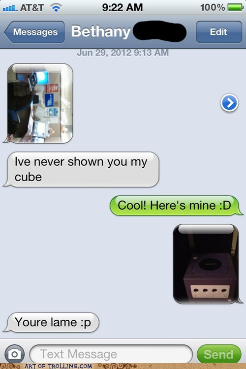 cubicle game cube sms texting