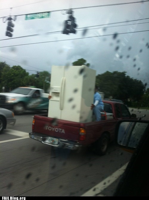 dangerous delivery DIY driving fridge