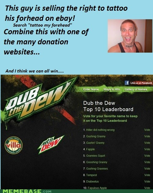 dub the dew,forehead,tattoo,winner