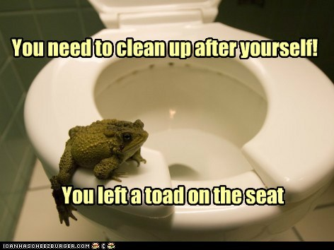clean up after yourself,gross,left,pond,pun,toad,toilet seat,turd