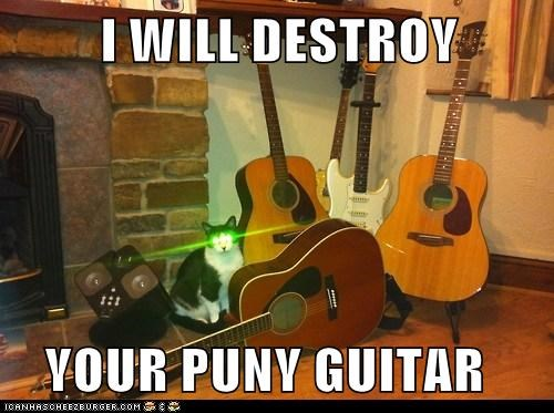 destroy guitar Cats captions laser