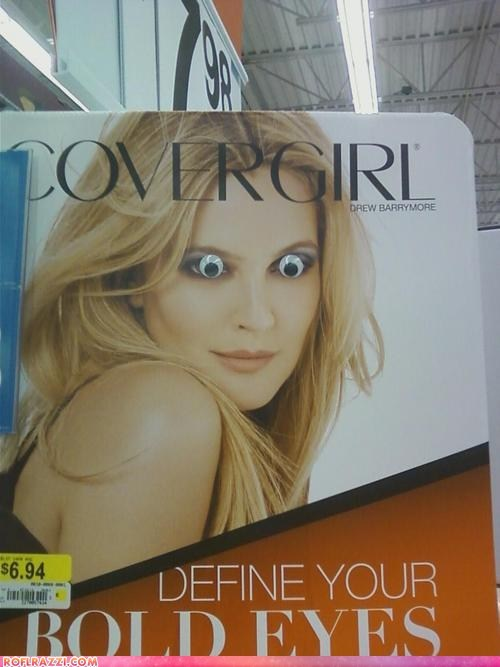actor,Ad,celeb,drew barrymore,funny,googly eyes