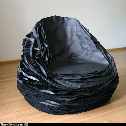 black paper chair one-mans-trash trash treasure