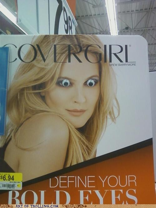 bold,cover girl,googly eyes,IRL,sign