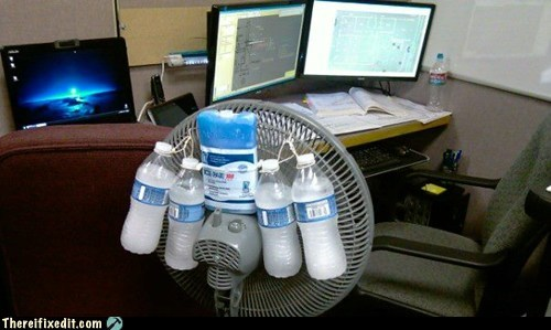 air conditioning,fan,ice bottle,water bottle