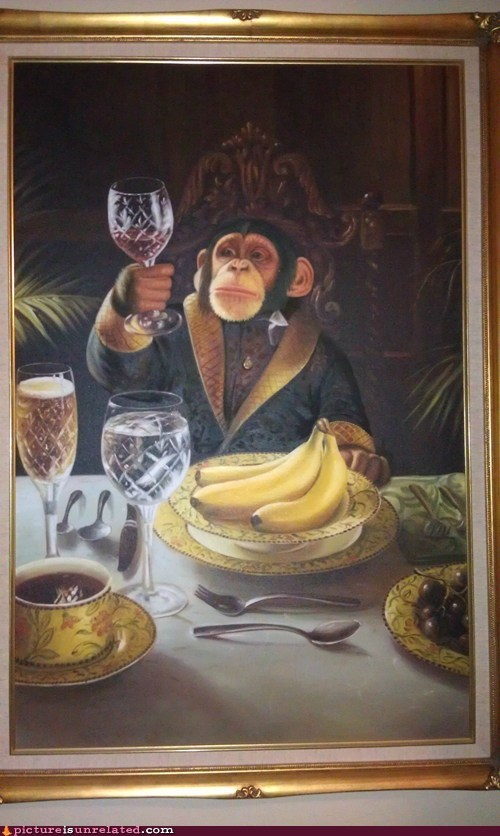 monkey,painting,wine,wtf