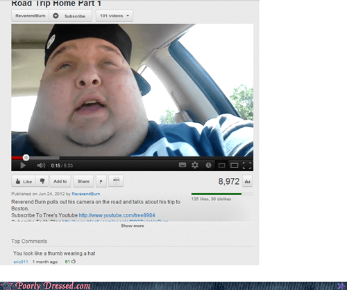 fatty fat face hat tumb youtube comments - 6537503488