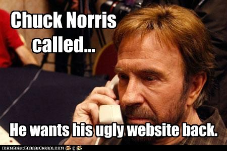 Chuck Norris called... He wants his ugly website back.