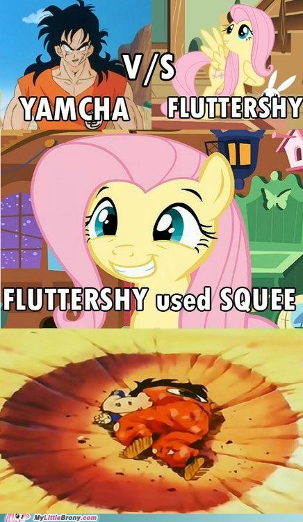 comic,cute,dragonball,fluttershy,squee,yamcha,yamcha sucks tho