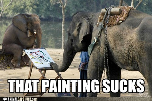 critic,elephants,painting,peanuts,sucks,zoo
