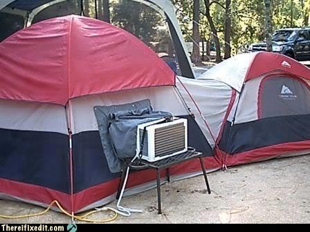 ac,air conditioner,camping,roughing it,tent