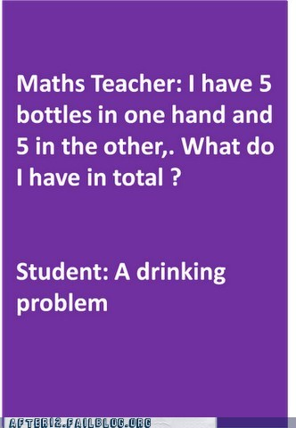 bottles,drinking problem,math teacher,stop,word problem