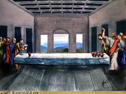 beer pong,jesus,last supper