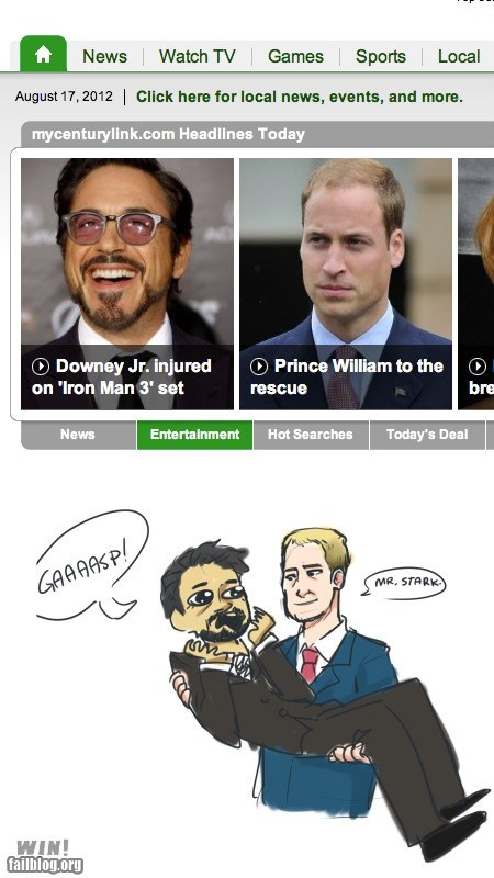best of week,completely relevant news,Hall of Fame,headline,juxtaposition,news,prince william,robert downey jr