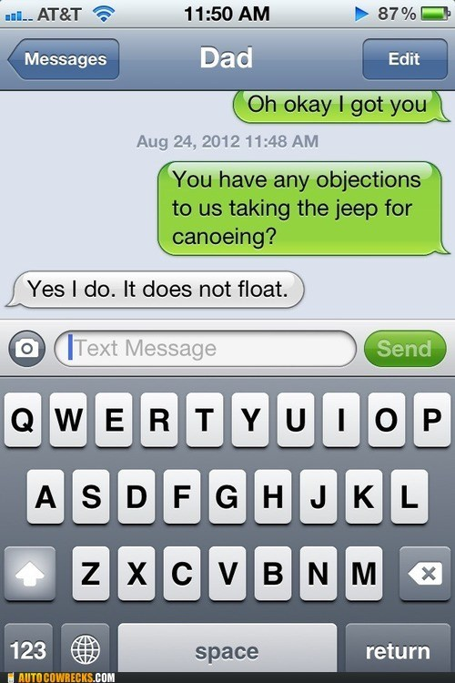 canoeing,does not float,jeep,you sure about that