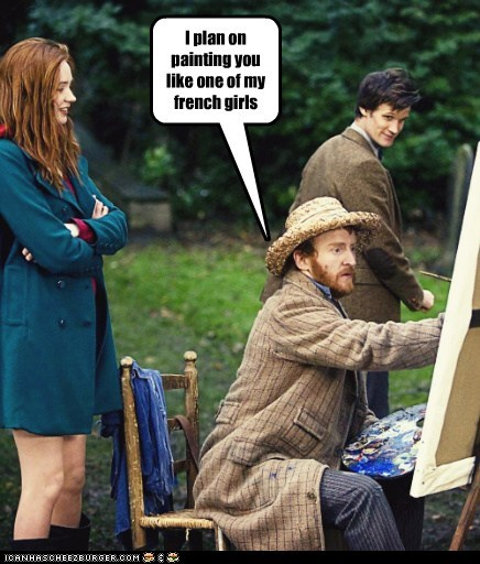 amy pond,artist,doctor who,karen gillan,Matt Smith,paint me like one of your french girls,painting,plan,the doctor,Vincent van Gogh