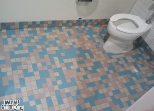 bathroom,nerdgasm,space invaders,tile,video games