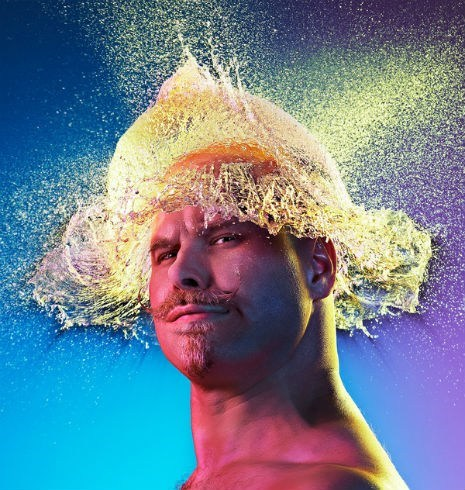 bald guys,hair,hat,photo shoot,water balloons,wig