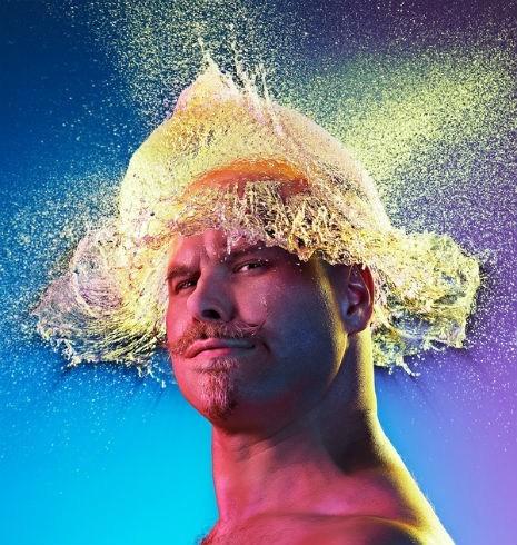 bald guys hair hat photo shoot water balloons wig - 6538236672