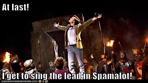 at last,celebration,happy,Matt Smith,musical,singing,spamalot,the doctor