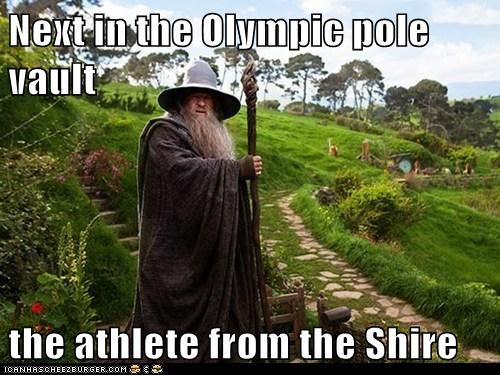athlete,events,gandalf,ian mckellen,Lord of the Rings,olympics,pole vault,The Shire,wizard