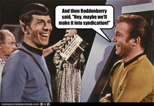 gene roddenberry,joking,laughing,Leonard Nimoy,Shatnerday,Spock,Star Trek,syndication,unlikely,William Shatner