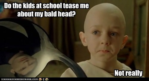 bald kid neo not really psychic spoon teasing the matrix
