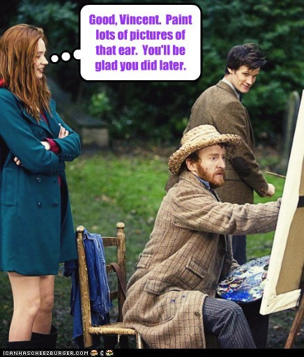 amy pond,doctor who,ear,good,karen gillan,Matt Smith,painting,the doctor,Vincent van Gogh