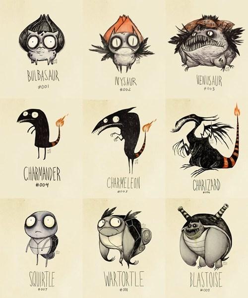 art Pokémon starters tim burton - 6542406144