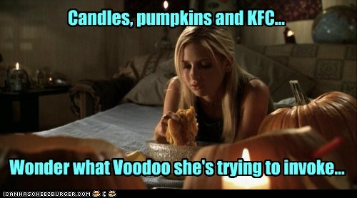 Candles, pumpkins and KFC... Wonder what Voodoo she's trying to invoke...