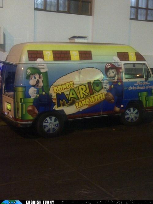 food truck,mario,nerdgasm,nintendo,street food,Super Mario bros,van