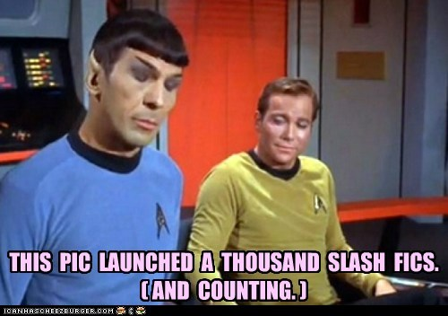 Captain Kirk counting eyeing launched Leonard Nimoy pic slash fiction Spock Star Trek William Shatner - 6543276288