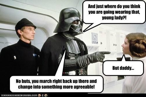 agreeable,carrie fisher,change,clothes,dad,darth vader,daughter,parenting,Princess Leia,star wars