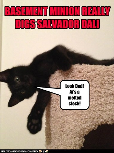 art,basment cat,captions,cat tree,Cats,clock,dali,melting clock,reference,salvador Dali