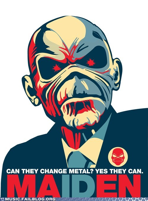 barack obama,change poster,iron maiden,Obama poster