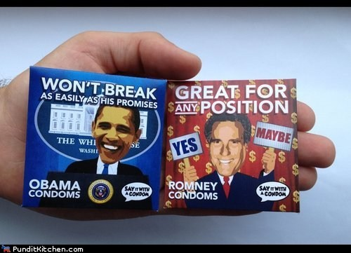 barack obama,break,condoms,Mitt Romney,novelty,position,promises
