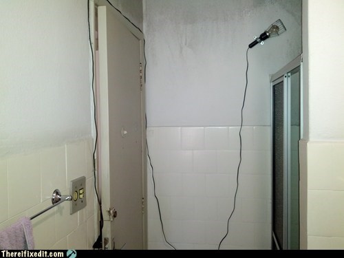 bathroom,electrocution,light,shower,showerhead