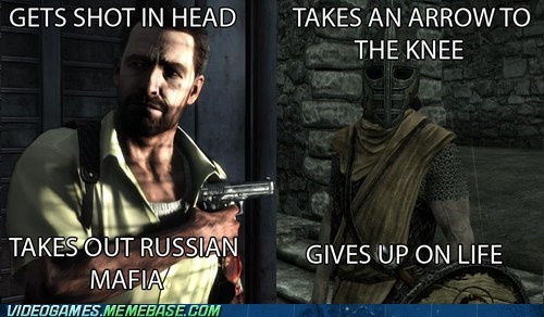 arrow in the knee,guard,meme,revenge,Skyrim