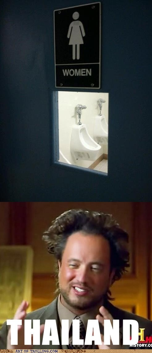 Aliens ancient aliens bathrooms Memes sign women - 6544840704