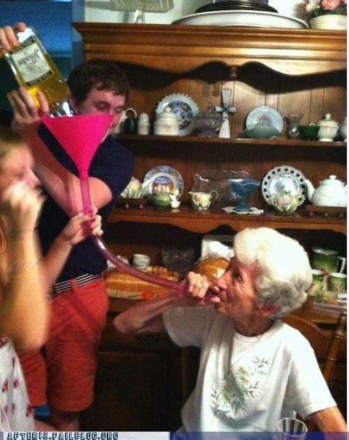 alcohol,beer bong,chugging,grandma