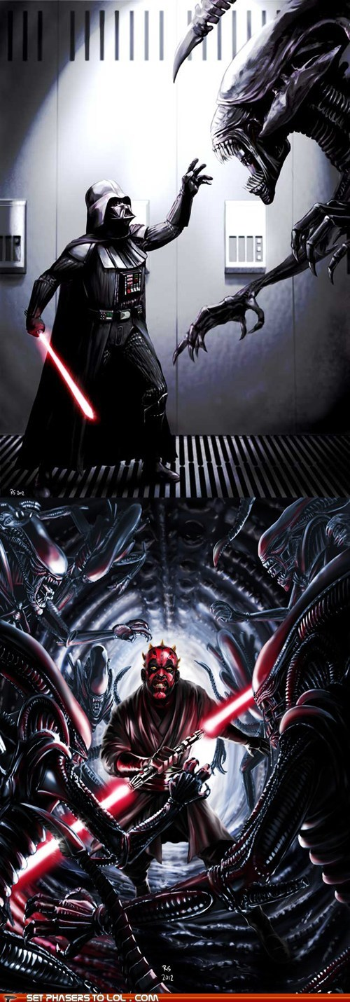 Aliens,darth maul,darth vader,fight,lightsabers,star wars,the force,xenomorphs