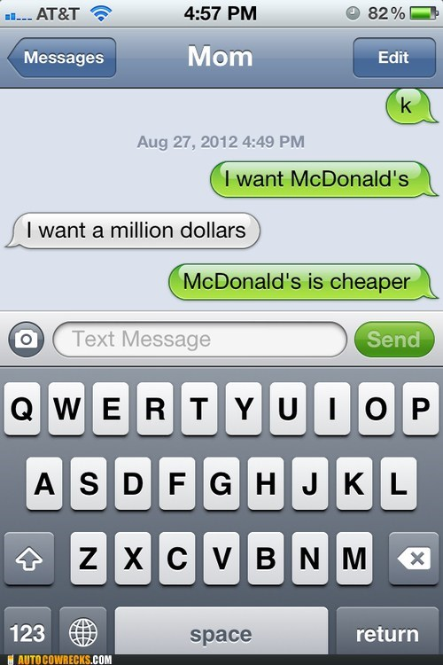iPhones,McDonald's,million dollars,money