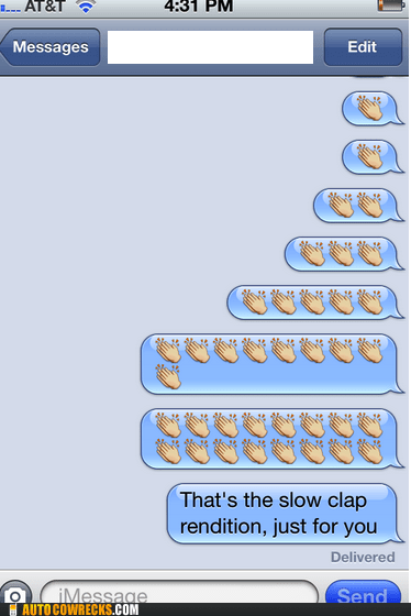 clapping emoticons iPhones rendition slow clap - 6545032192