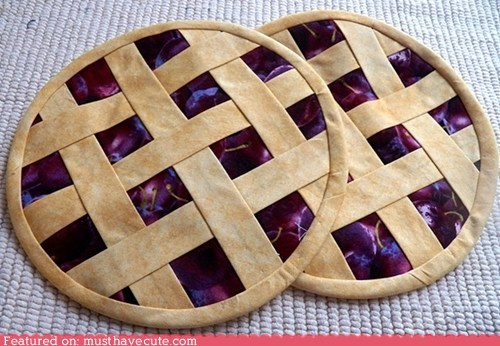 cherries,crust,lattice,pie,potholders